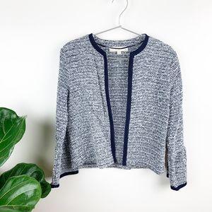 LOFT Ann Taylor Knit Tweed Bell Sleeve Cardigan